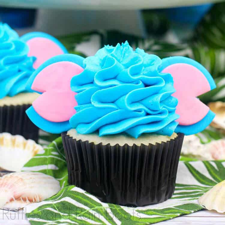 Disney Inspired Stitch Cupcakes from Lilo and Stitch on tropical background