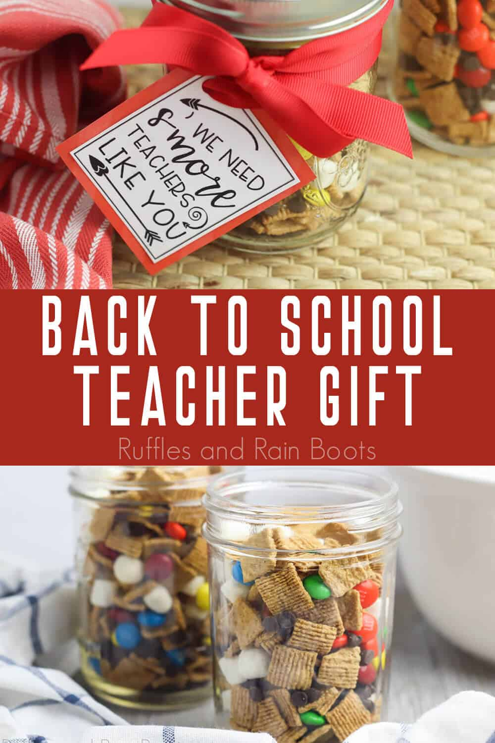 photo collage of Back to School Smores Teacher Gift with text which reads back to school teacher gift