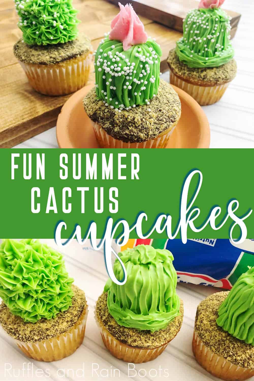 photo collage of how to make easy cactus cupcakes with text which reads Fun Summer Cactus Cupcakes