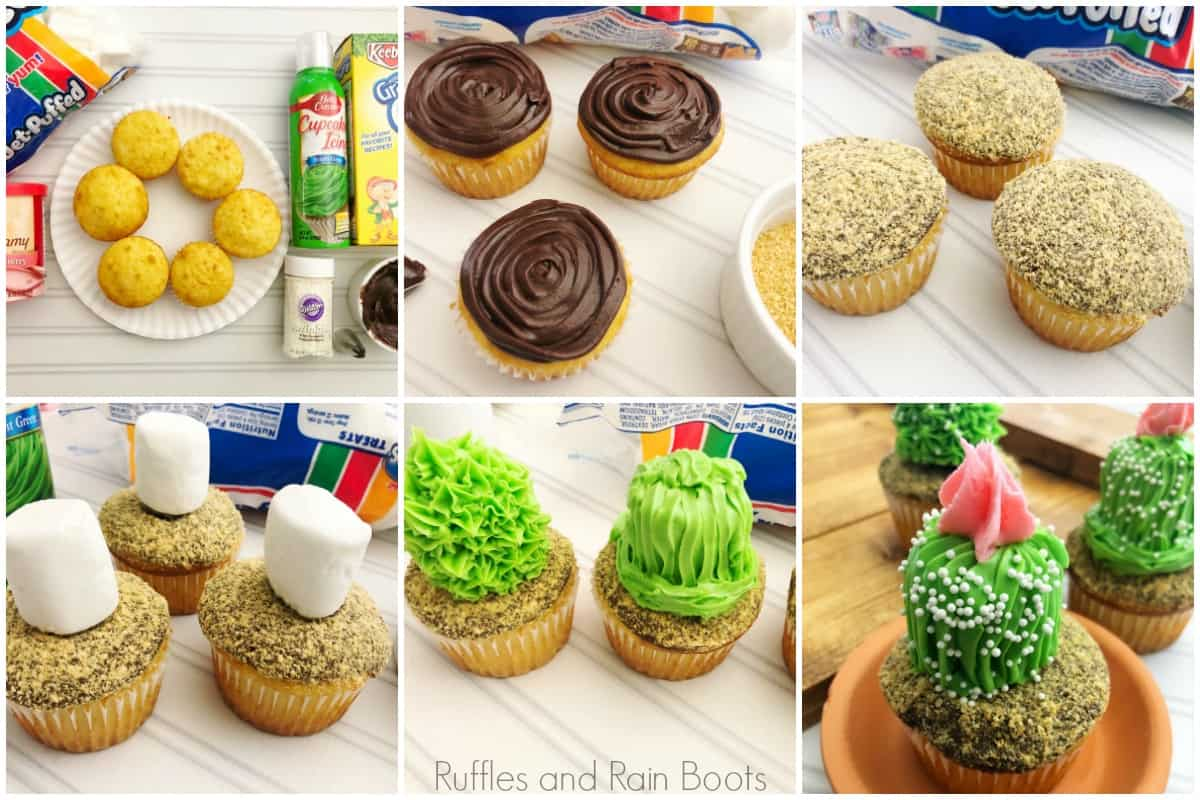 photo collage of how to make cactus cupcakes marshmallows
