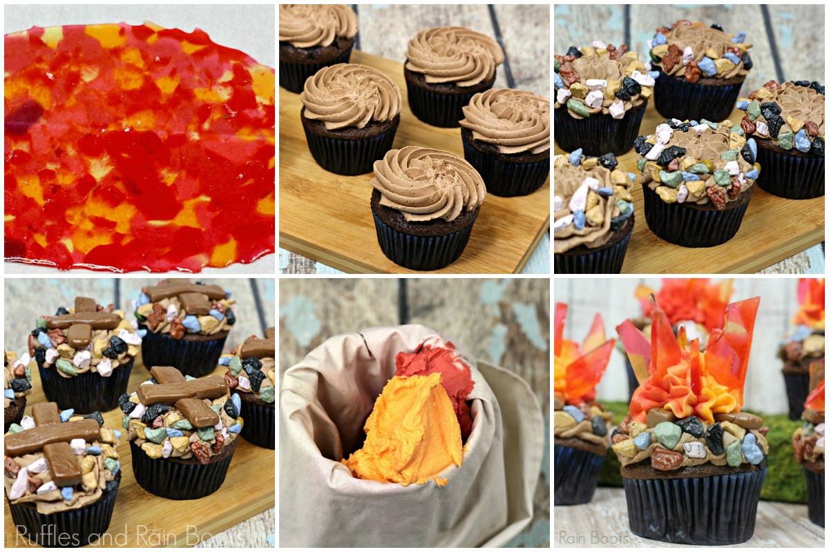 photo collage of how to make campfire cupcakes for camping