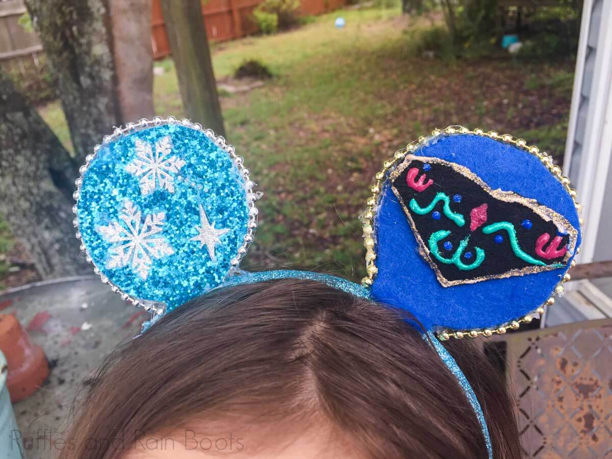 Adorable Frozen Mouse Ears Made by Kids worn by a little girl