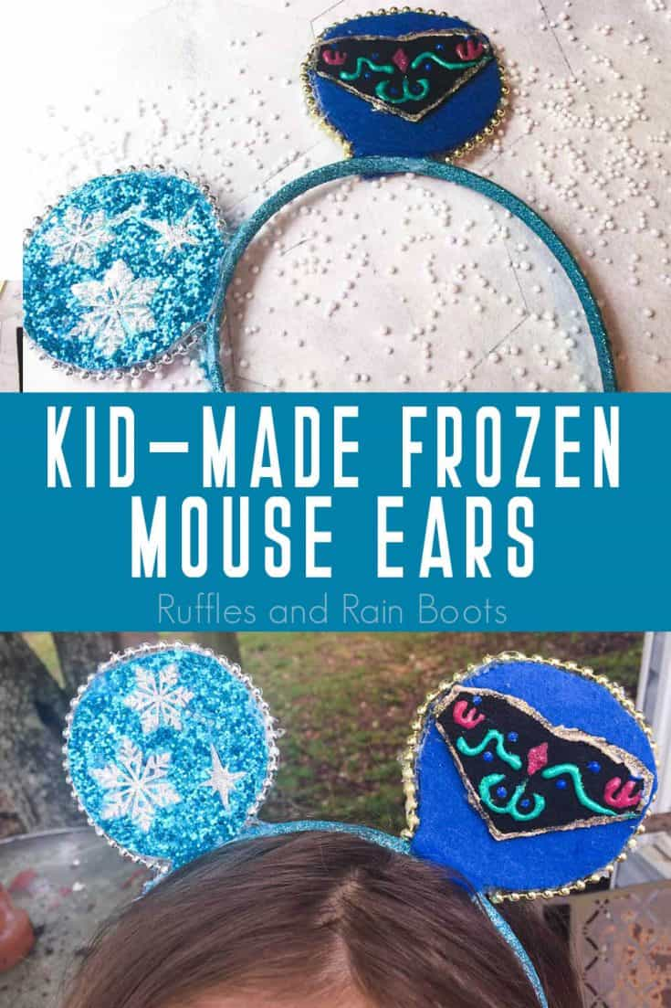 These Frozen mouse ears are the cutest kid-made Mickey ears ever. If your kiddos have Frozen fever, they'll love making Anna & Elsa Minnie ears. Click here to see how to make these easy Frozen Mickey ears in minutes. #mickeyears #frozen #annaandelsaminnieears #frozenmouseears #rufflesandrainboots
