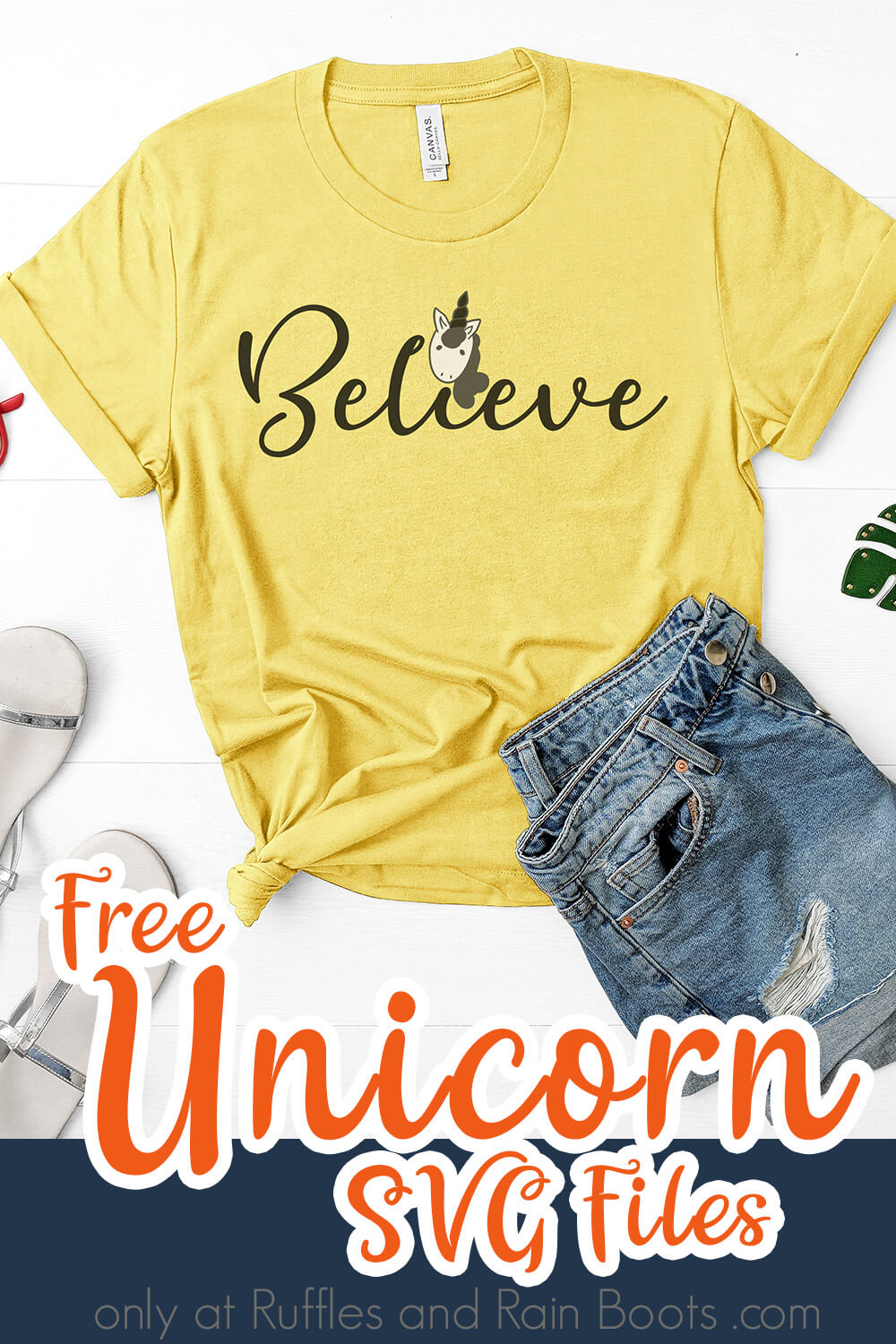 Believe free unicorn svg for cricut on yellow t-shirt with jean shorts, sandals and sunglasses on white background with text which reads free unicorn svg files
