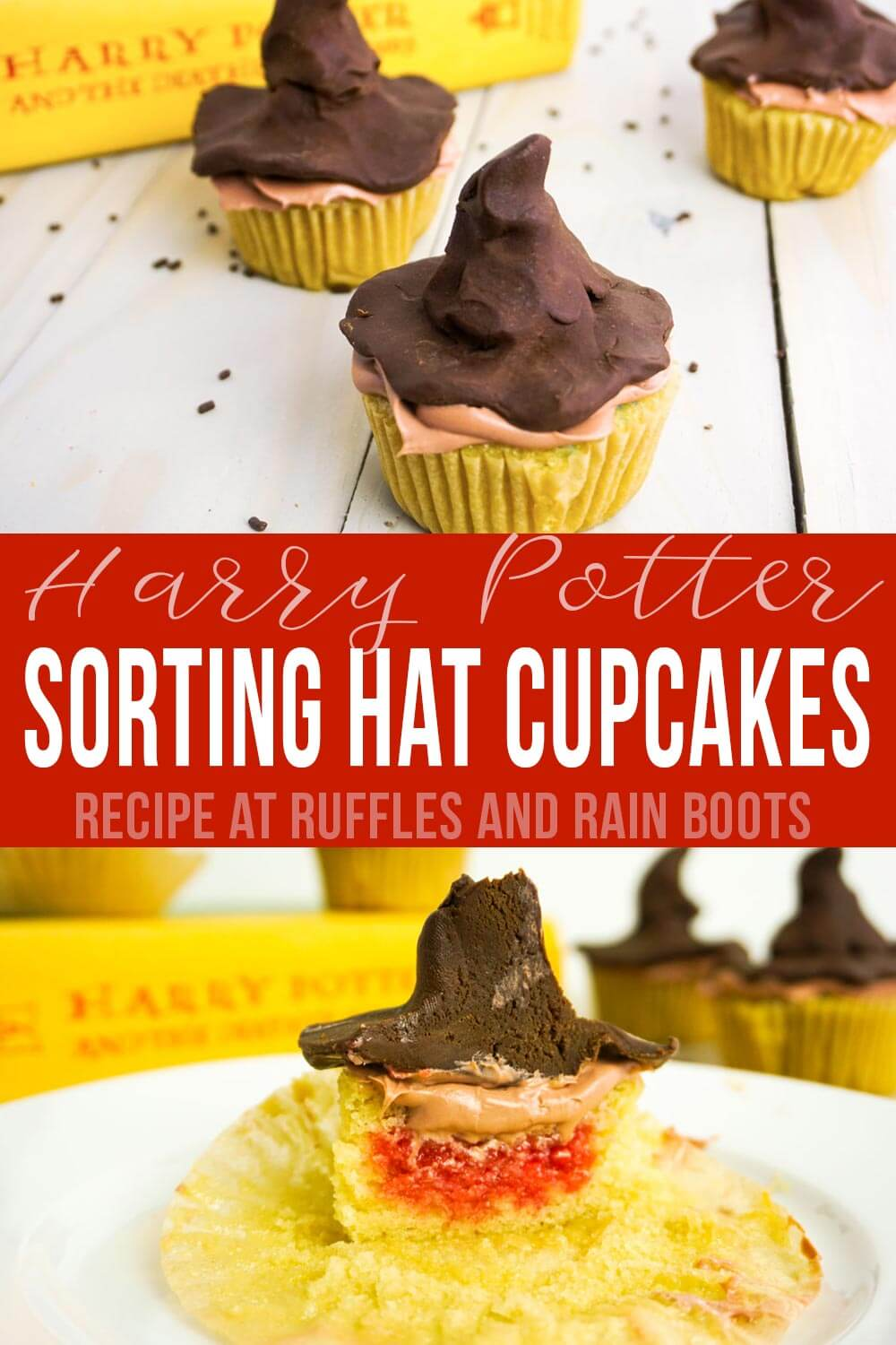 photo collage of harry potter cupcakes with text which reads Sorting Hat Cupcakes for Harry Potter Party