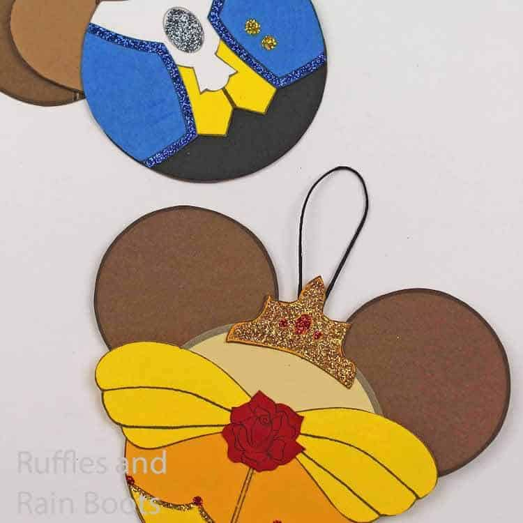 christmas princess belle ornaments on a white background