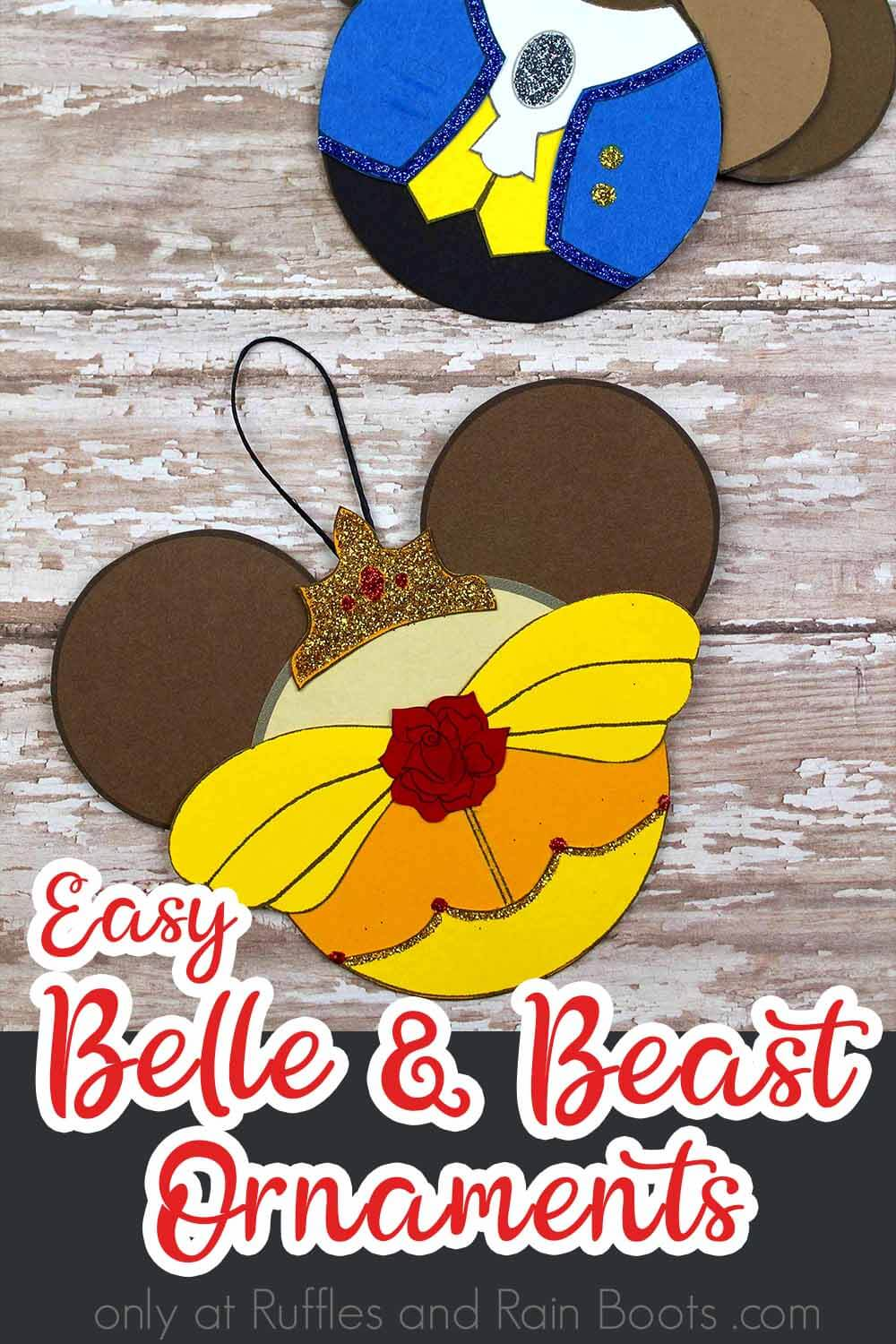 princess belle ornaments on a wood background with text which reads easy belle and beast ornaments