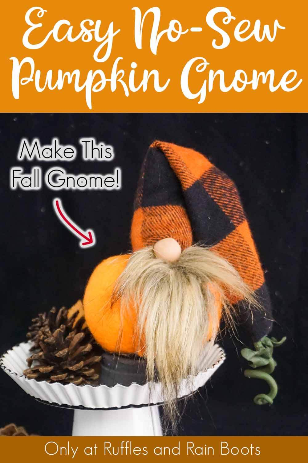 easy fall gnome on a white cupcake stand with a black background with text which reads easy no-sew pumpkin gnome make this fall gnome