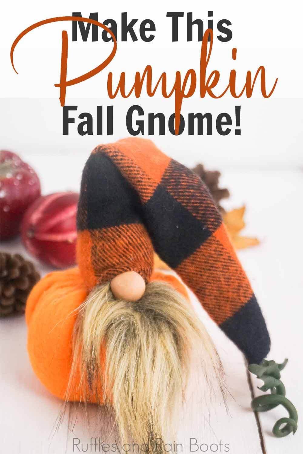 fall buffalo check gnome on a white background with text which reads make this fall pumpkin gnome
