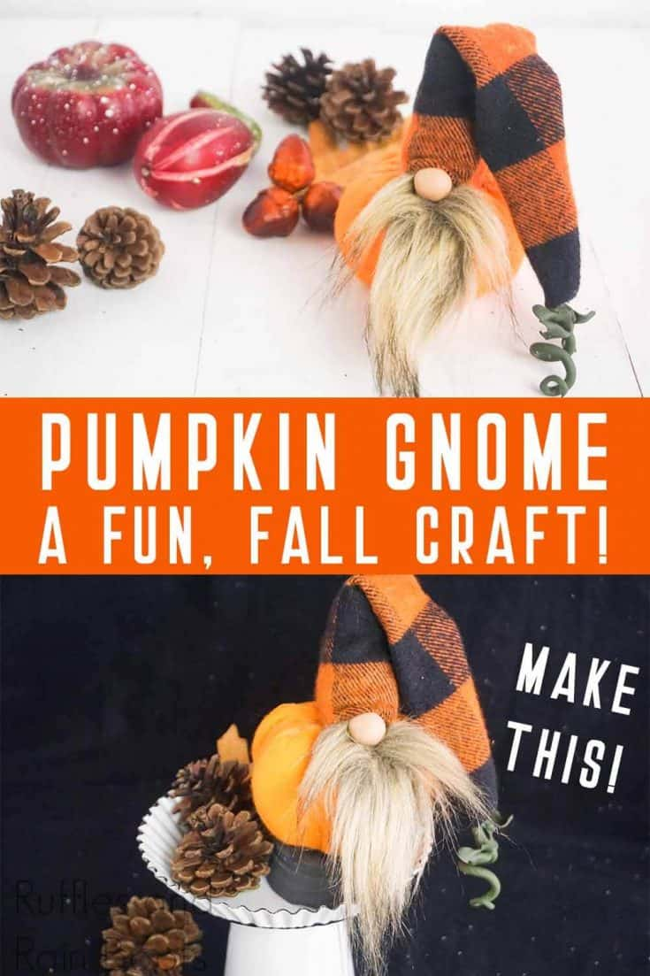 I am a little in love with this adorable pumpkin gnome. Its little pumpkin butt is SO CUTE! Click through to see how to make this fun fall gnome in minutes! #fallgnome #pumpkingnome #diygnome #gnome #rufflesandrainboots