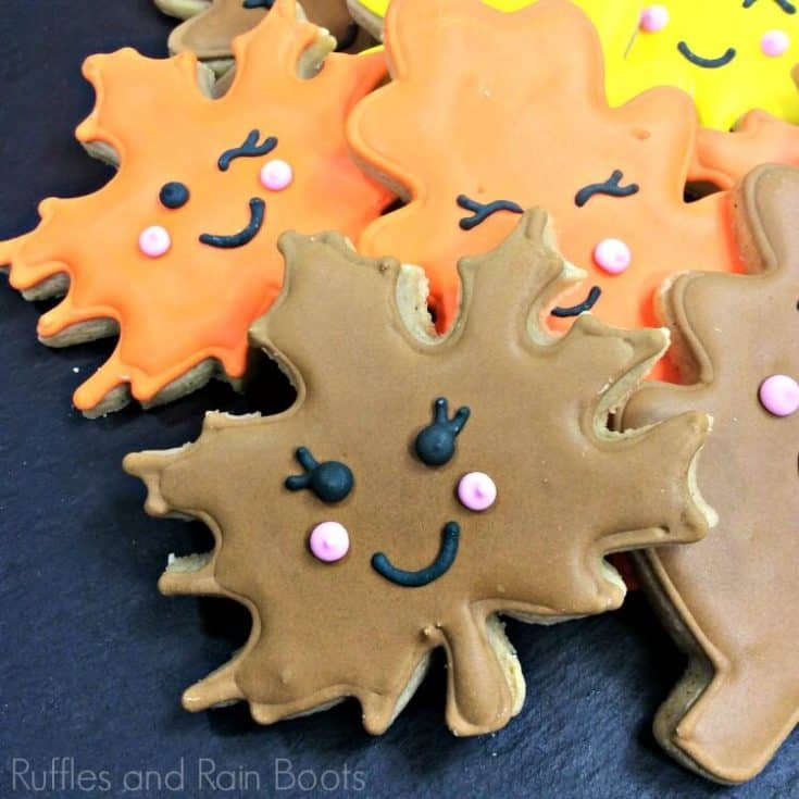 Kawaii Fall Leaf Cookies