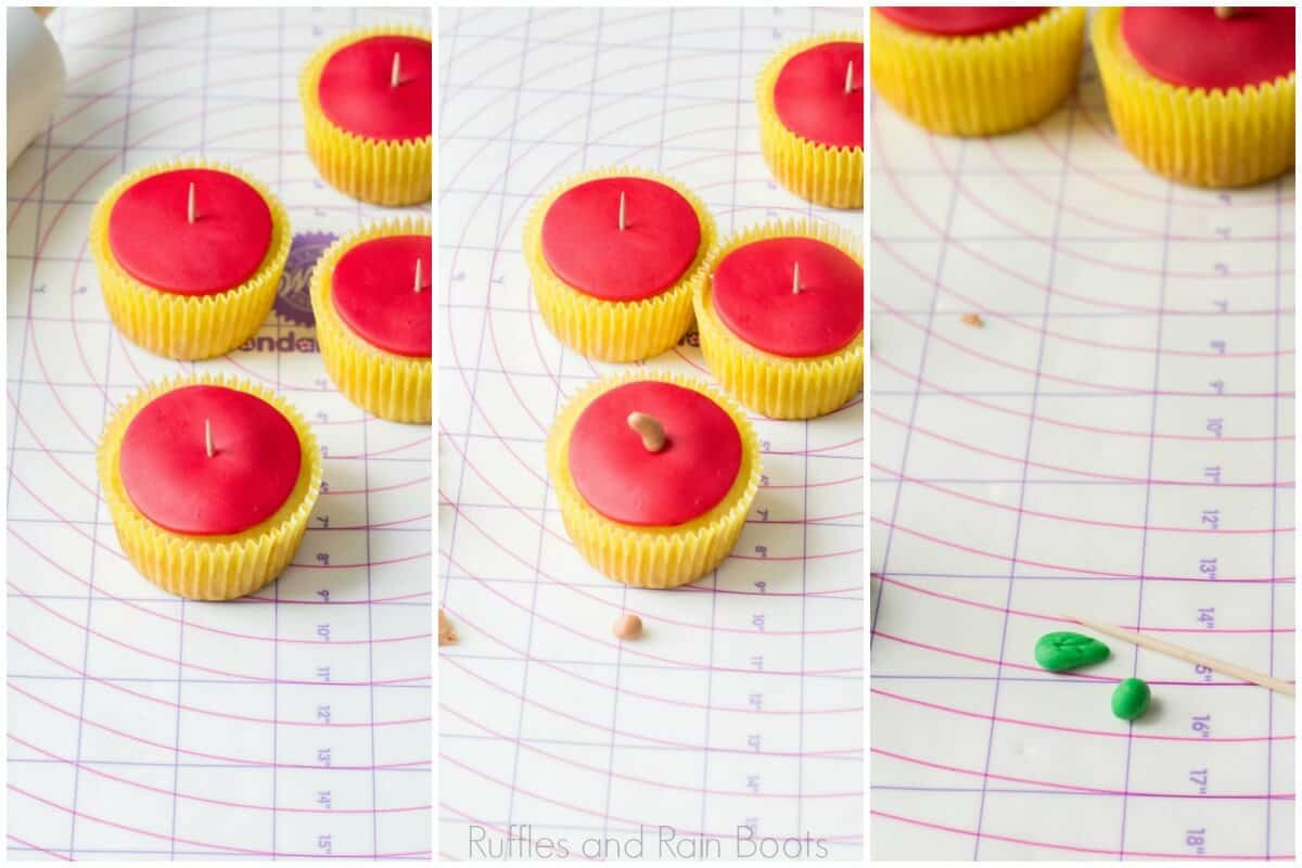 photo collage of how to make Easy Apple Cupcakes with fondant