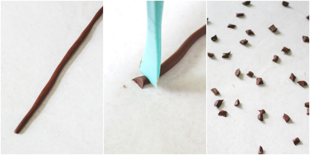 photo collage of how to Create Apple Seeds from Polymer Clay for caramel apple slime