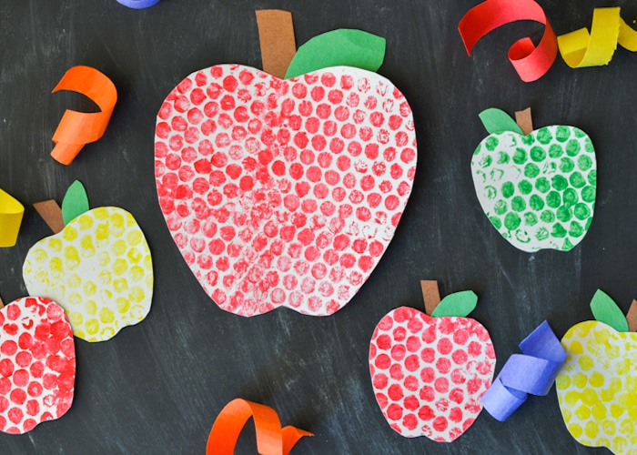 Bubble Wrap Painted Apples Craft