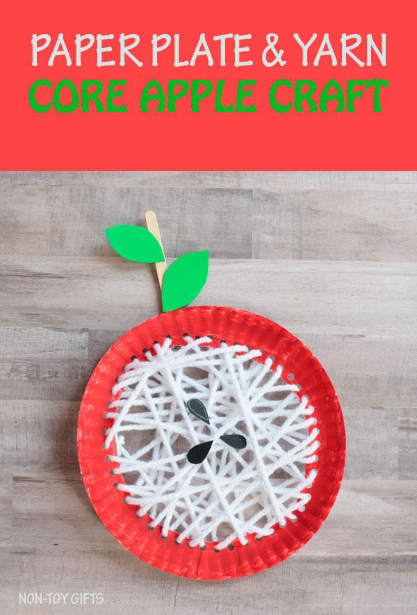 Yarn and paper plate core apple craft