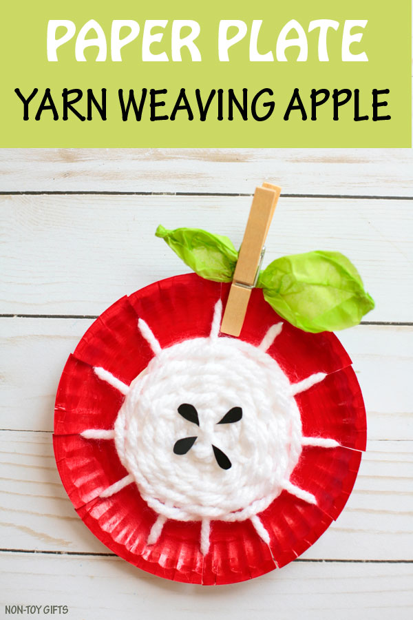 Paper plate yarn weaving apple craft