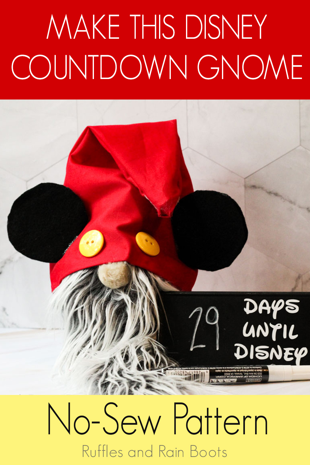 mickey gnome pattern make this disney countdown gnome no-sew pattern