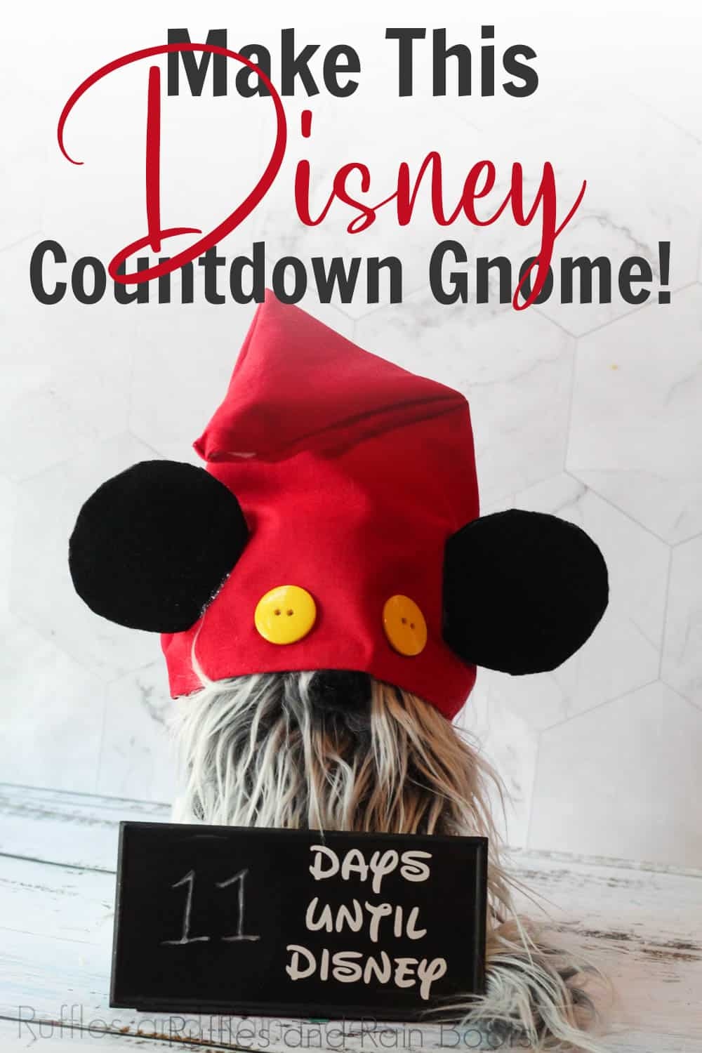 no-sew pattern for mickey mouse gnome with text which reads make this Disney countdown gnome