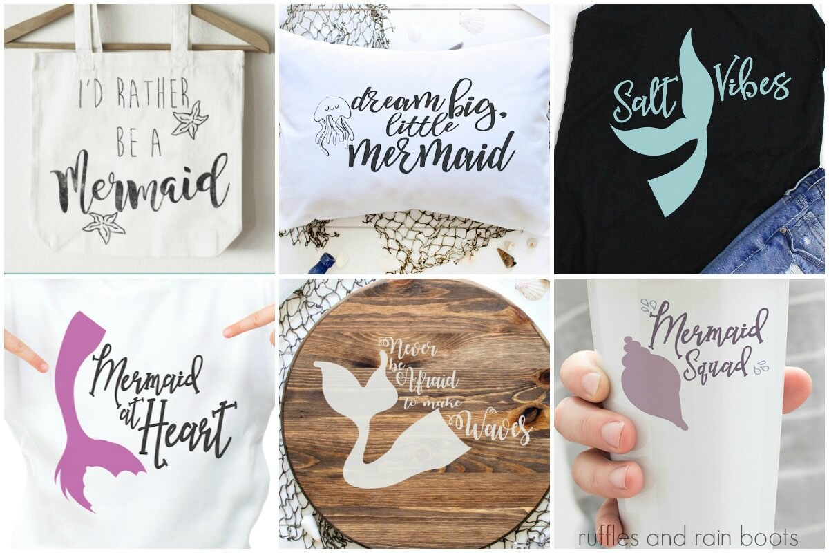 6 different free mermaid SVG files for Cricut from Ruffles and Rain Boots
