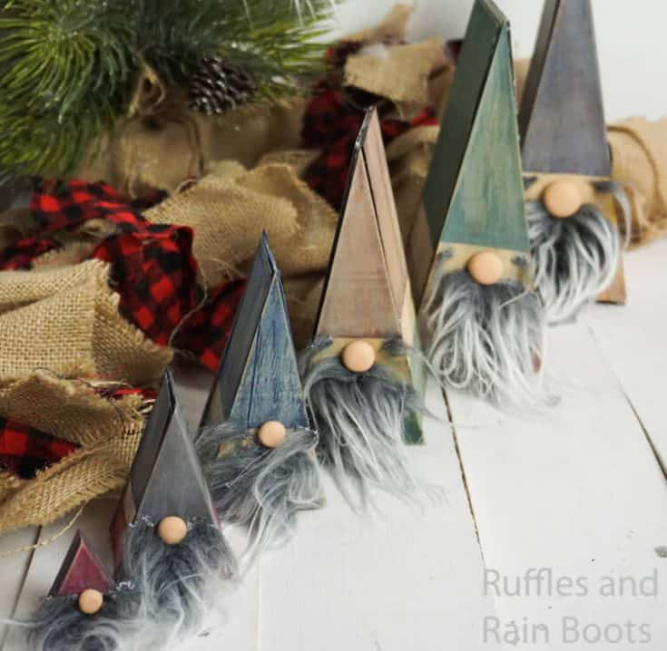 how to make gnomes that stack together on a white wood background with a christmas tree and burlap for farmhouse christmas decorations