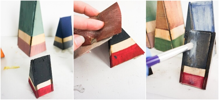 photo collage tutorial of how to make wood gnomes