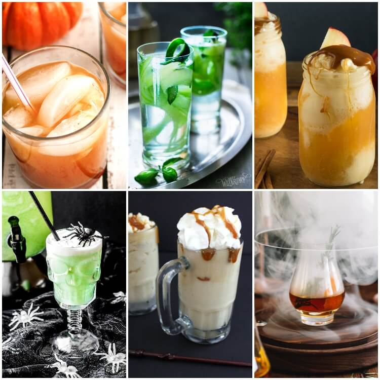 photo collage of harry potter drinks