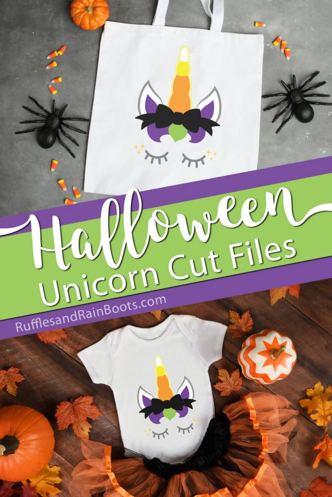 photo collage of unicorn dressed up for halloween with text which reads halloween unicorn cut files