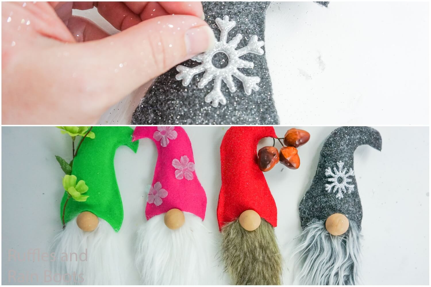 photo collage tutorial of how to make seasonal home sign by adding details to each gnome face