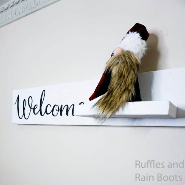 Welcome Sign with Gnome Shelf