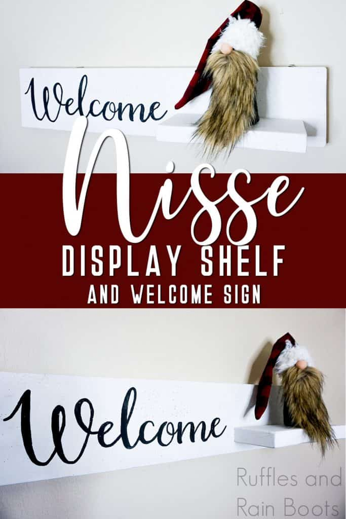 photo collage of floating shelf with a sign to show off gnomes with text which reads nisse display shelf and welcome sign