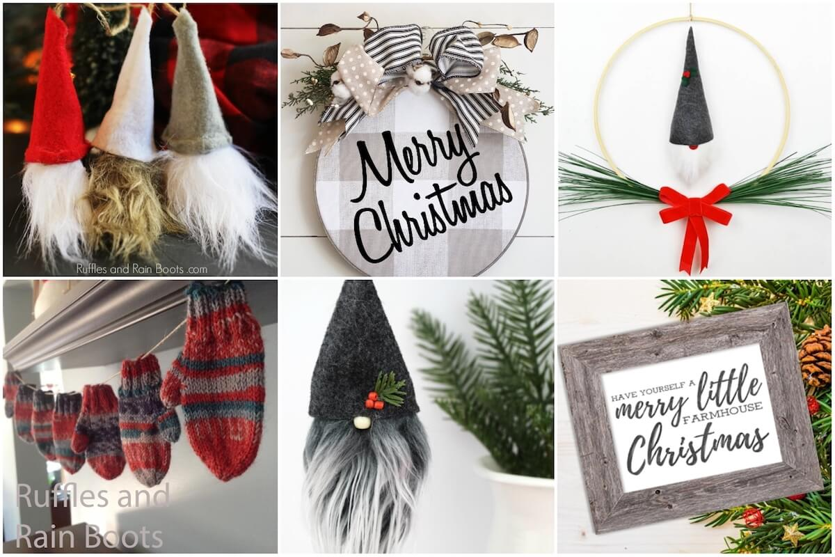 photo collage of farmhouse christmas decorations you can make or buy