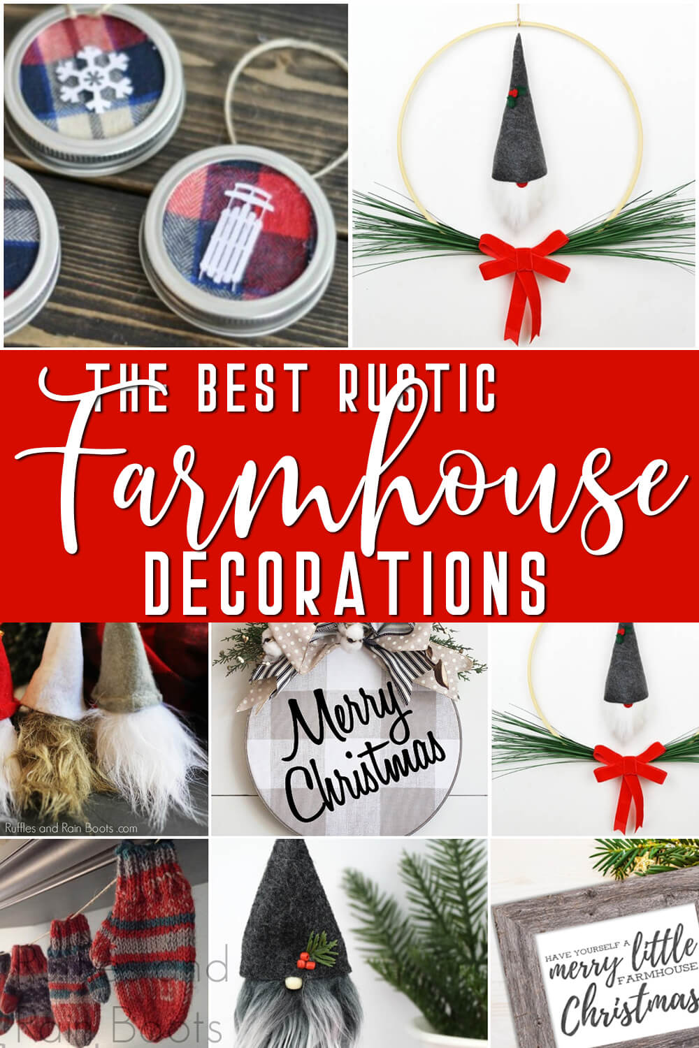 photo collage of easy rustic farmhouse decorations with text which reads the best rustic farmhouse decorations