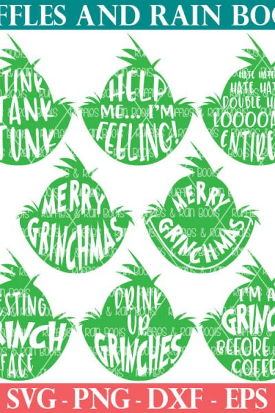 8 free grinch head svg and cut file set for cricut and silhouette machines from ruffles and rain boots