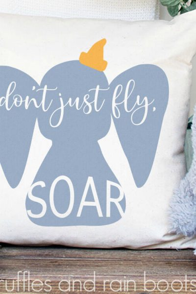square image of elephant Dumbo SVG with quote on pillow in nursery