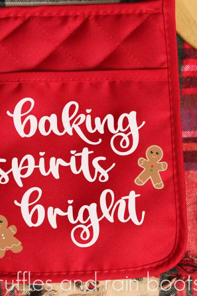 square image of close up red potholder neighbor Christmas baking gift made with Cricut and free SVG files