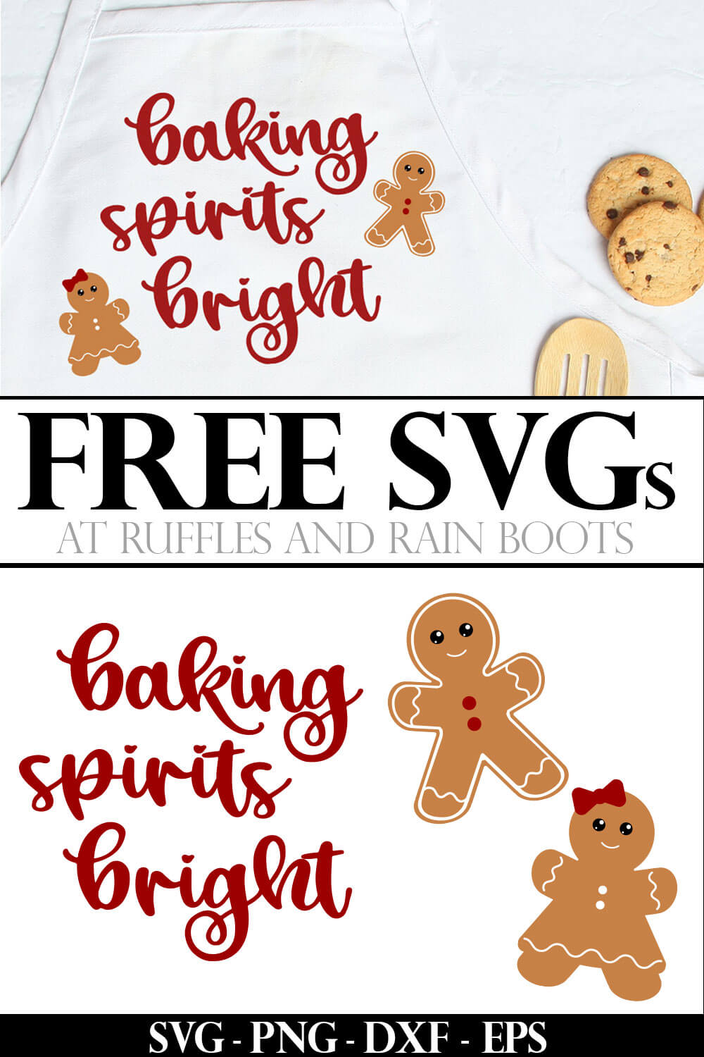 collage of Christmas apron made with baking spirits bright SVG and other holiday cut files with text which reads free SVG at Ruffles and Rain Boots