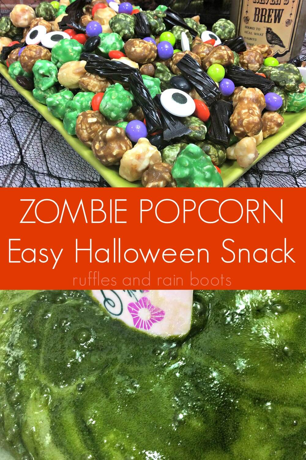 photo collage of Easy Zombie Popcorn for Halloween Snack with text which reads zombie popcorn easy halloween snack