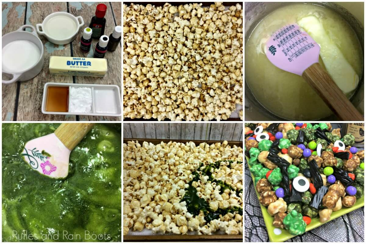 photo collage of how to make Halloween popcorn
