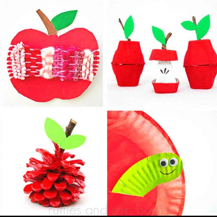 photo collage of Apple Crafts for Kids