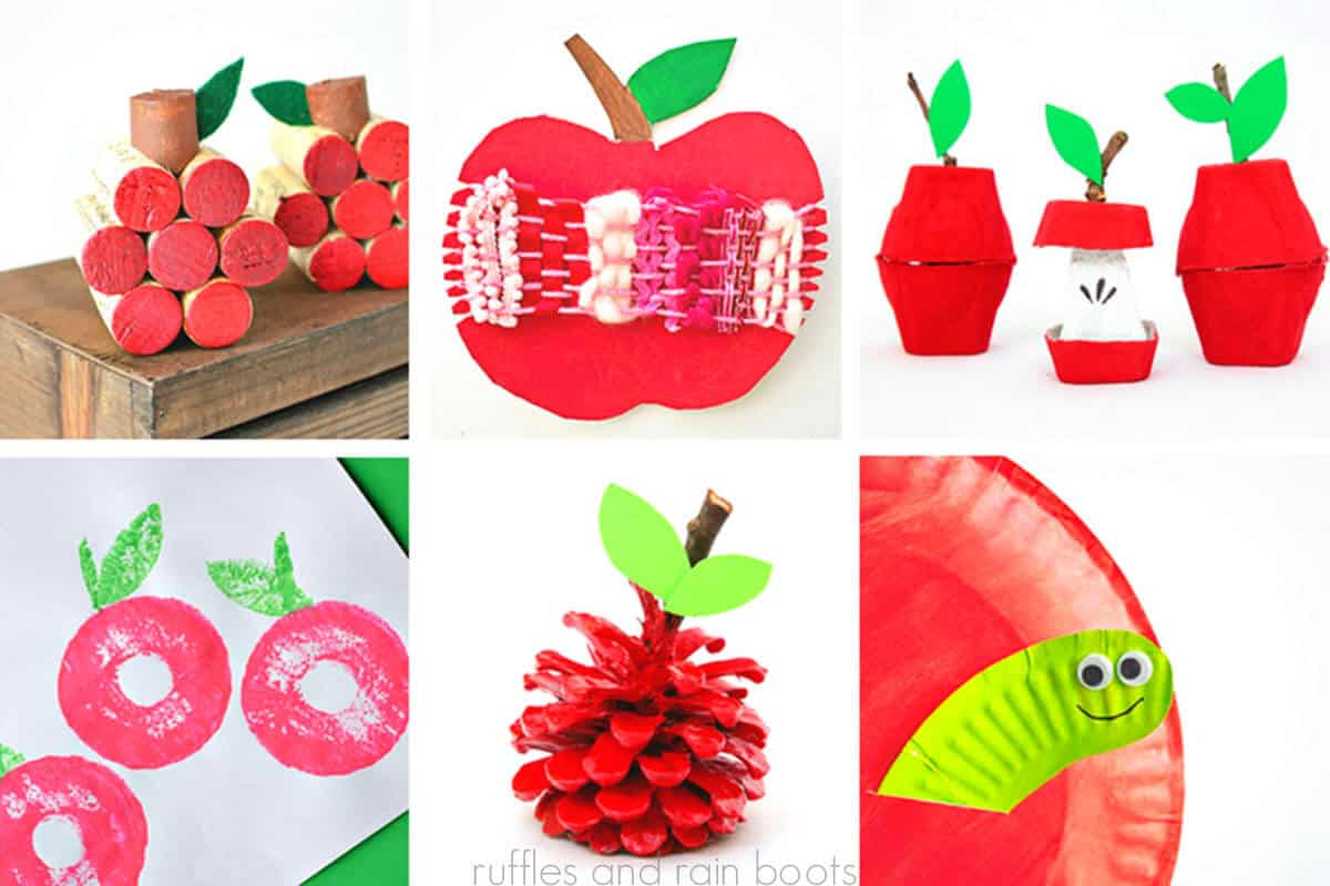 photo collage of Apple Crafts for Preschooler and Kindergarten