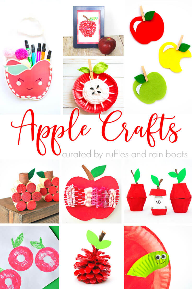 photo collage of Fun Apple Crafts for Kids with text which reads apple crafts