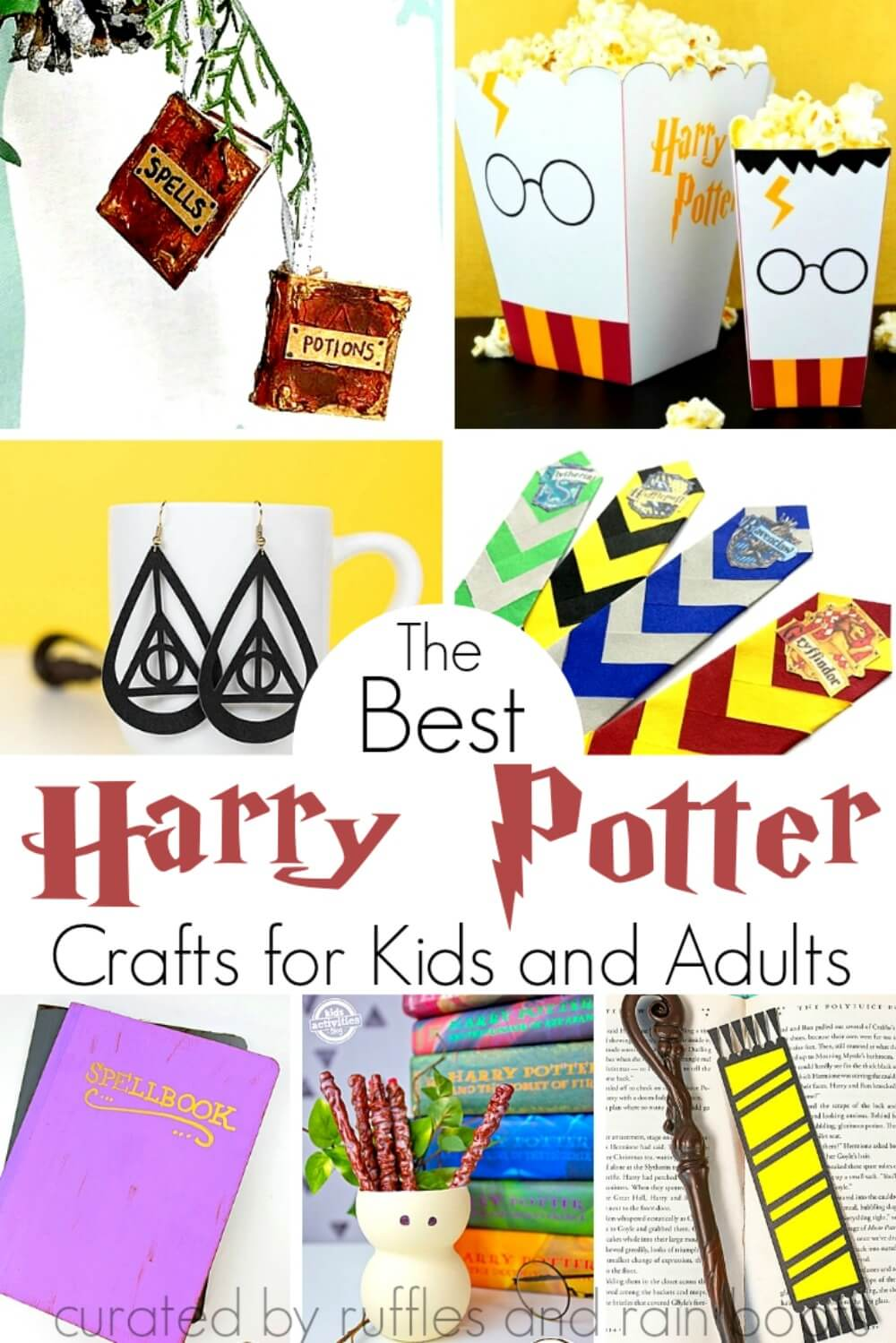 Magical Harry Potter Crafts for Kids and Adults with text which reads best harry potter crafts for kids and adults