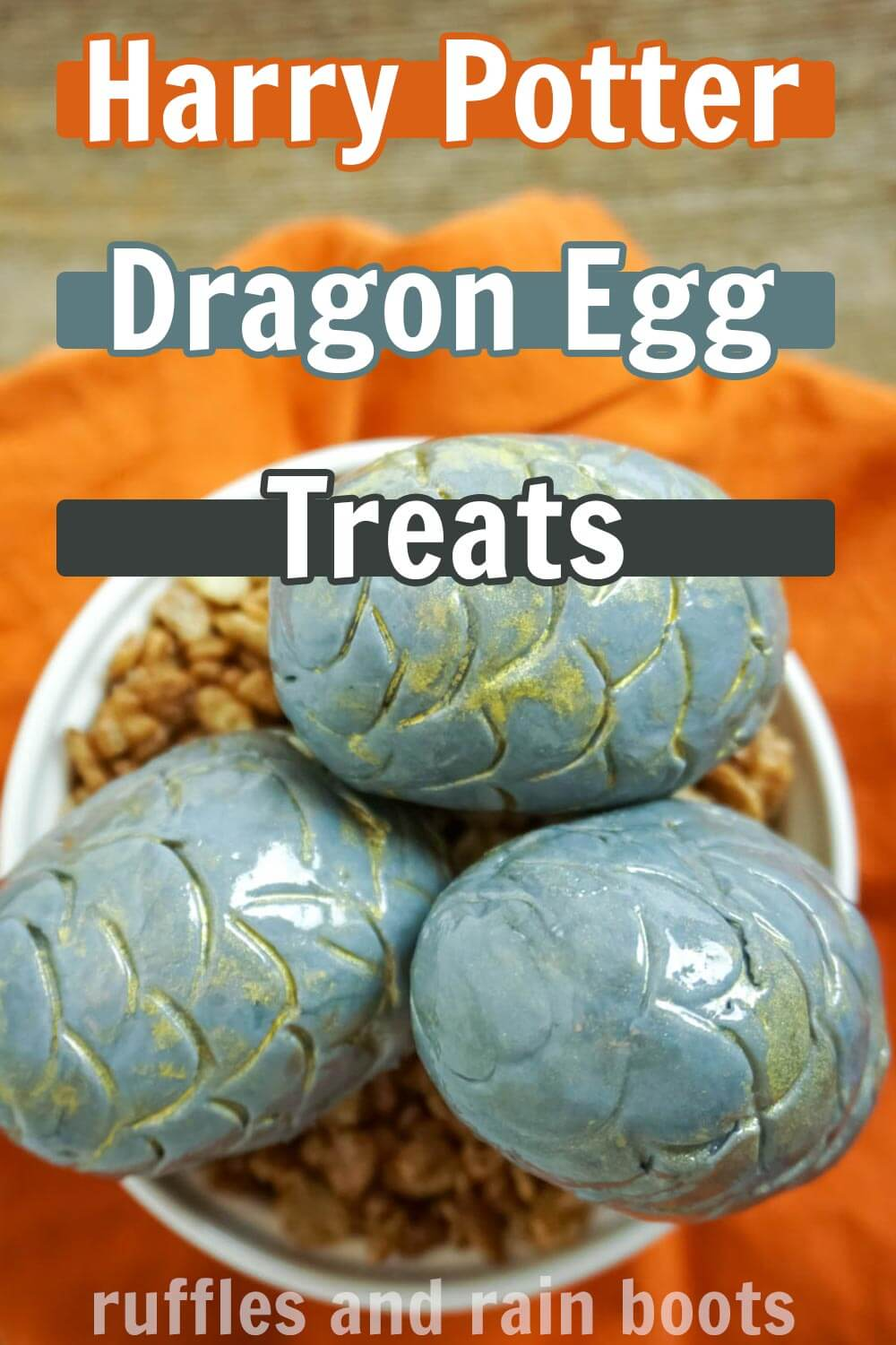 Harry Potter Dessert in a white bowl on an orange background with text which reads harry potter Dragon Egg Treats