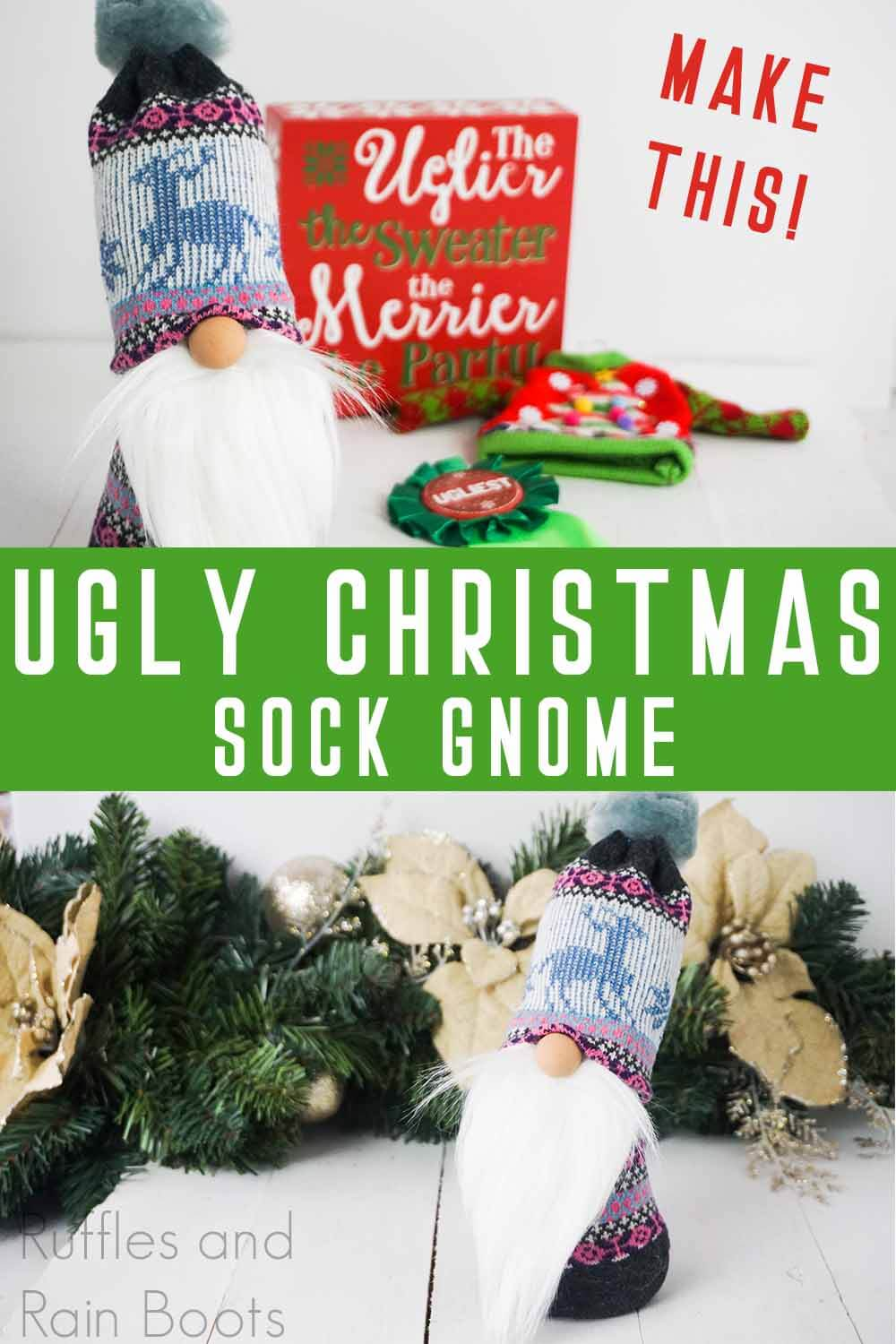 photo collage of ugly christmas sock gnome tutorial with text which reads make this ugly christmas sock gnome