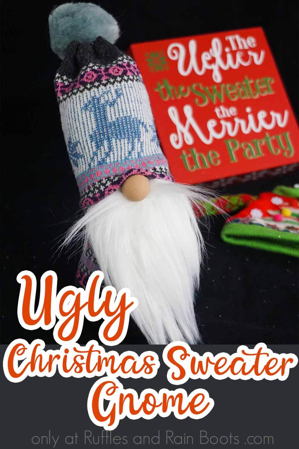 ugly christmas sweater sock gnome on a black background with text which reads ugly christmas sweater gnome