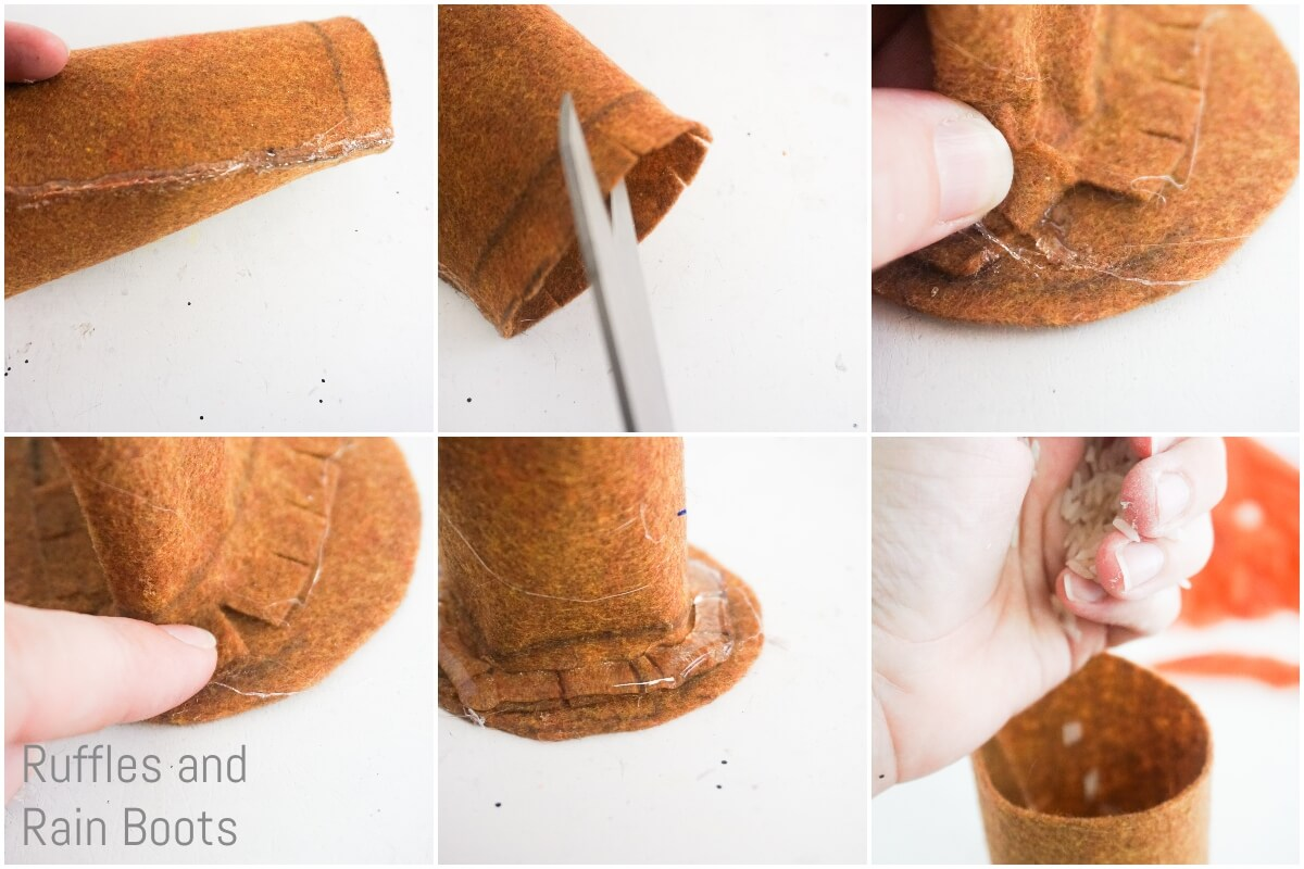 photo collage of how to make a pumpkin spice gnome making the body