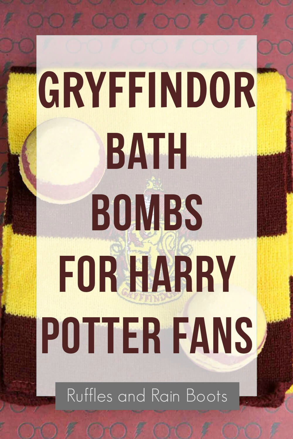 shower fizzies on red and yellow scarf with text overlay with text which reads Gryffindor bath bombs for harry potter fans