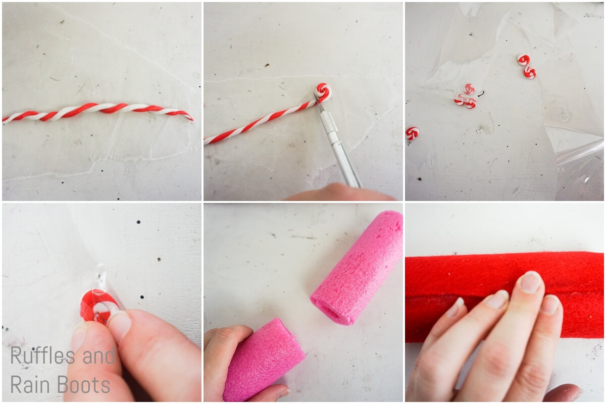 photo collage tutorial of how to make a peppermint gnome by making tiny peppermints and cutting a pool noodle