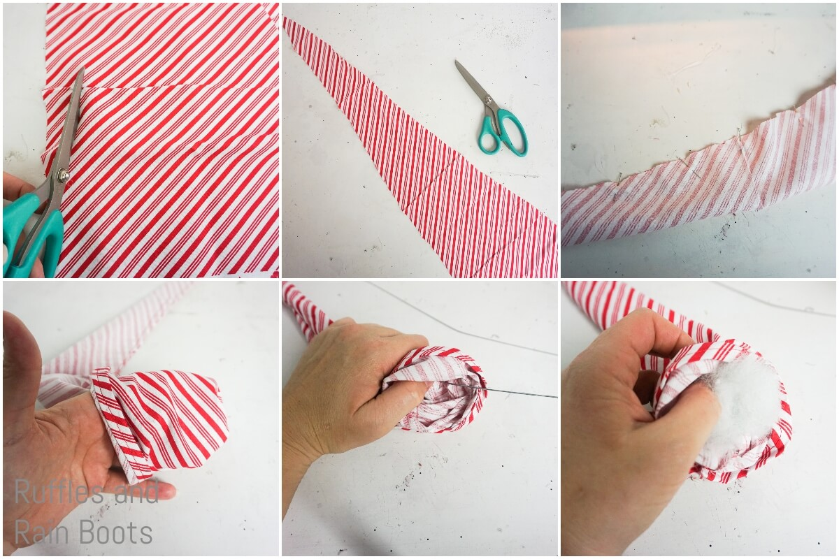 photo collage tutorial of how to make a peppermint gnome hat