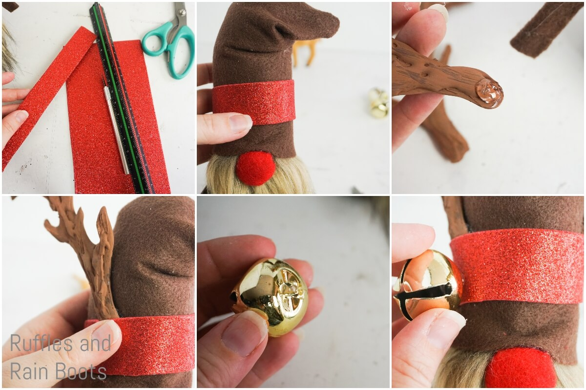 photo tutorial of how to make a reindeer gnome by adding a hat band, antlers and bells